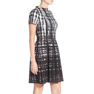 Vince Camuto Plaid Print Scuba Fit & Flare Dress
